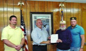 Marlinton Town Council recognized the dedication and contributions of the Pocahontas County Scottish Rite Club at its meeting Monday night. Pictured, l to r: Master Mason Doug Lantz, Marlinton Mayor Sam Felton 32º, James VanReenen 33º and Chris Gibson 32º. Photo courtesy of B.J. Gudmundsson