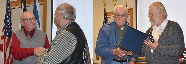 Left photo, Pocahontas County Vietnam Veterans of American Chapter president Norris Long, right, presents World War II veteran Harold Crist with a Certificate of Appreciation at the chapter's Christmas dinner Thursday evening. Right photo, VVA chapter member Joe Smith, right, presents a Certificate of Appreciation to Korean Conflict era veteran Kenneth Faulknier. The chapter also honored World War II veteran Sherman Beard, who was unable to attend the dinner. S. Stewart photos