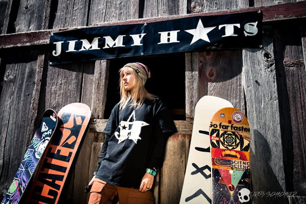 Photo courtesy of Kurt Schachner Behind every good man is a great woman and in Jimmy's case, it's Courtney, his wife. Courtney has joined Jimmy in the hat knitting business. She also designs the logos and promotional items, like T-shirts, bracelets and stickers.