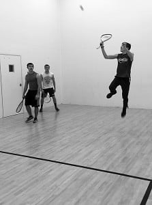 Ryan Irvine, Logan Davis and Connor Pyles take to the racquetball court for a quick game at the Wellness Center. Photo courtesy of Lauren Bennett.