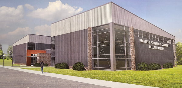 Design firm OWPR, of Winchester and Roanoke/Blacksburg, Virginia, designed this computer rendering of what the Northern Pocahontas Wellness Center will look like once built. The NPWC board is seeking grants and donations for construction of the center. S. Stewart pohto