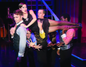 From left: Reed Patterson, Vincent Pelligrino, Kim Morgan Dean, Donald Laney, Jason Williams, and James Roberts in GVT's 2015 production of Chicago. Photo Courtesy Greenbrier Valley Theatre