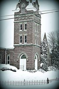 OAK GROVE PRESBYTERIAN Church in Hillsboro resembles the setting of a English novel as it rises from its snow covered surroundings. Photo courtesy of Dottie Malcom Brock