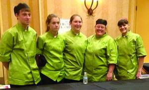 The Pocahontas County High School ProStart team, from left: Brandall Carr, Brittney Sharp, Courtney Coetzee, Kim McComb and Teresa Mullen. The team won the Best Teamwork award at the Junior Cast Iron Cook-Off, held in Charleston February 5-6. Photos courtesy of ProStart