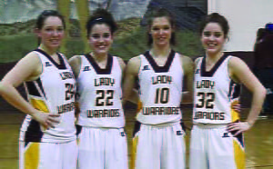 In the last regular season game, the senior Lady Warriors, from left, Kayleigh Arbogast, Michelle Murphy, Megan Galford and Melissa Murphy, led the team in defeating Charleston Catholic 44 to 42 at home Saturday. Photo courtesy of Samantha Collins
