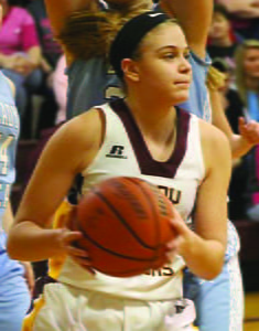 PCHS Junior Sarah Ryder broke the school's game rebound record last Thursday night, when she grabbed a total of 27 rebounds during the game against Moorefield. Photo courtesy of Samantha Collins