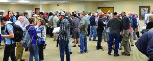 A large crowd gathered Thursday night in the Mountain Lodge Ballroom at Snowshoe Resort to meet, mingle, ask questions, offer opinions and voice concerns with regard to the proposed Atlantic Coast Pipeline. D. Moore photo