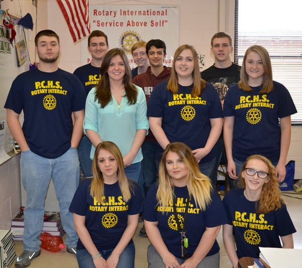 Members of Pocahontas County High School Rotary Interact are: kneeling, from left:Kayla Shaw, Kaylin Murray and Amber Sisler. Second row, from left:Gavin Gilmore, Mia Ellison, Carlie Ervine and Kayla Gibson. Third row, from left:Max Dunz, Joseph Whalen, Jake Faris and Trey Walton. S. Stewart photo