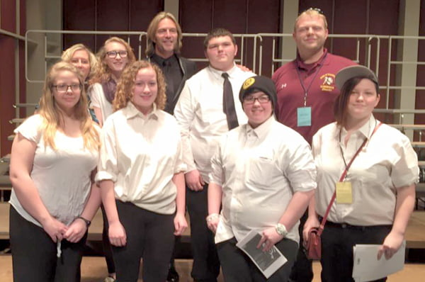 Pocahontas County High School choir members participated in the first annual West Virginia University Honor Choir, led by Eric Whitacre. Attending the event were, front row, from left:Chyenna Campbell, Allison Turner, Xenobia Varner and Layla Shinaberry. Back row, from left: Kristy Tritapoe, Amber Sisler, Whitacre, Andrew Sipe and Bob Mann. Photo courtesy of Bob Mann