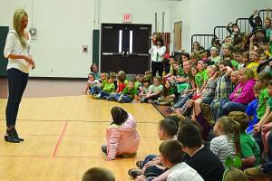 Miss West Virginia Chelsea Malone selected Mental Health Advocacy as her platform for the year of her reign. She has traveled throughout the state speaking to students about the topic. She is seen here speaking to Marlinton Elementary School students. Photo by C. Moore.