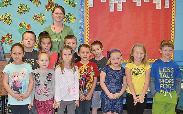 Melissa Taylor's first grade class at Green Bank Elementary-Middle School was the top class raising money for the annual Pennies for Patients project. First row, from left:Charlie Halterman, Cheyenne Vandevender, Riley Cassell, Xavier Watson, Sophia Murray, Hayden Waddell and Morgan Beverage. Second row:Noah Good, Cadence Kerr, Draven Hannah and Zachary Wimer. Third row:Melissa Taylor. Not pictured: Austin Price, Tori Price and Savannah Haden. S. Stewart photo