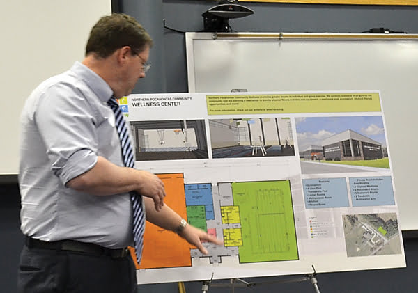 Architect Randy Jones explains the design of the proposed Green Bank Wellness Center at a special Northern Pocahontas Community Wellness meeting last week. Jones was contracted by NPCW to design the building which includes a full size gymnasium, fitness room and four-lane pool. S. Stewart photo