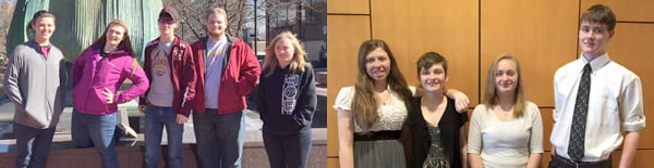 Left photo: Pocahontas County High School band members participating in the MarshallUniversity Honor Band were, from left: Tiler Mortensen-Smith, Kourtney Cohenour, Kyle Lester, Kevin Thompson and Kaitlyn Lester. Right photo: Participating in the West Virginia University Honor Band were, from left: Caitlin Barnes, Goldie McClure, Kaitlyn Lester and Kyle Lester. Photos courtesy of Bob Mann
