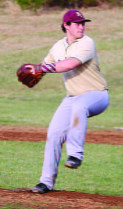 Caleb Mullenax TURNs up the heat against Richwood on Monday evening.  The PCHS Warriors defeated the Lumberjacks by 6 to 5 in extra innings.  Photo courtesy of Stephanie Barkley