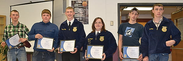 Members of the Pocahontas County High School FFAchapter receiving the Chapter FFADegree at the annual banquet were, from left: Drake Paulowski, Jacob Pyne, Logan Dilley, Sallie Arbogast, Tanner Moore and Michael Long. S. Stewart photo