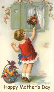 Little places flower bouquet on window sill - a vintage illustration