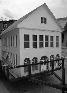 The miniature replica of the Pocahontas County Opera House, above, was rescued before demolition began on the wooden shed that was located next to the Opera House. C. D. Moore