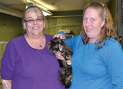 BACKONTRACK. Teresa Teter, left, and Rhonda Day, attribute their community service at the Pocahontas County Animal Shelter as part of their success in turning their lives around and becoming drug free. Both women continue to work at the shelter and enjoy spending time with the animals. S. Stewart photo