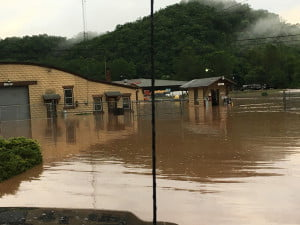The rising waters of Stony Creek caused mayhem north of Marlinton as it flooded the roadway, the West Virginia Department of Highways and required the evacuation of Campbelltown.