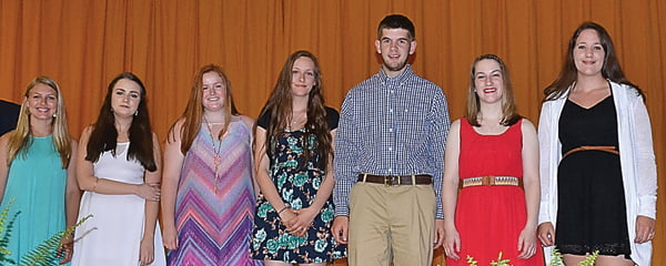 Pocahontas County High School seniors were honored at the annual Senior Awards Night May 26. Students receiving the Promise Scholarship were, from left: Makayla Marks, Audrey Lore, Emily Boothe, Lara Baudler, Caleb Bennett, Marilyn Creager and Ashlynn McKenney. S. Stewart photo