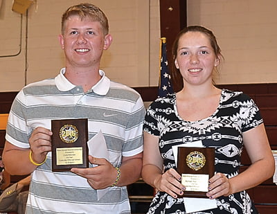 At the Pocahontas County High School Athletic Banquet, seniors Conlin Halterman and Kayleigh Arbogast were the first recipients of the newly founded Shafer/Kincaid Memorial Scholarship. The scholarship is given in memory of Thomas David Shafer and Richard David Kincaid who were both athletes at PCHS. S. Stewart photo