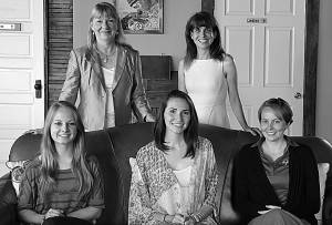STANDING, FROM LEFT: Beth Buck – daughter of Gay and Becky Shinaberry; and Greenbrier Valley Community Foundation Executive Director Courtney Smith; seated are three previous recipients of the Gay and Becky Shinaberry Scholarship: Dayla Lambert (2014), Makinsey Cochran (2012) and Kendra Taylor (2008). Not pictured: Alexandra Luikart, 2015 recipient. C.D. Moore photo
