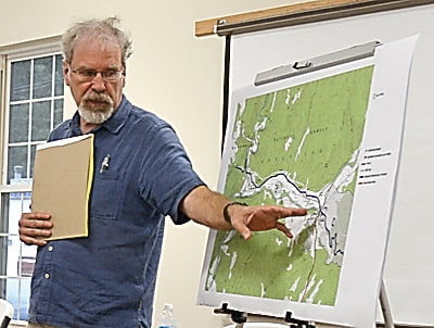 Archeologist Dr. Stephen McBride uses several maps to explain the KOCOA – Military Terrain Anaylsis of the Camp Bartow battlefield at the final preservation plan meeting Saturday at the Durbin Public Library. S. Stewart photo
