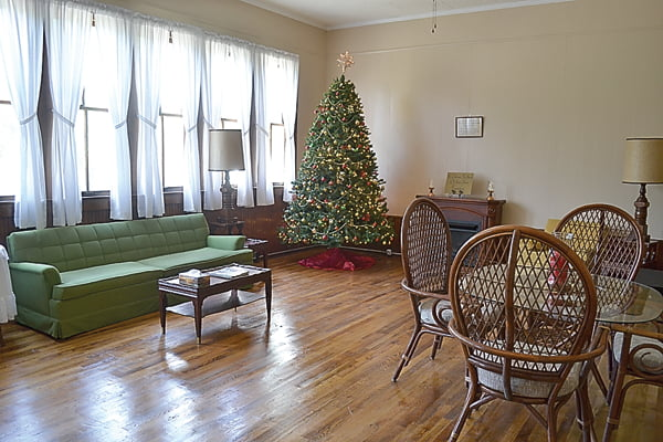 The second classroom in the Campbelltown School was converted into a sitting room/Christmas room during the renovation project spearheaded by Campbelltown Church parishioner Nicki Felton. The congregation and community members spent five years restoring the schoolhouse and transforming it into a community center. S. Stewart photo
