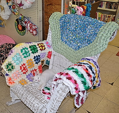 This, That and the Other mascot Galford lounges on a wicker rocking chair adorned with crocheted blankets and a crocheted rug.