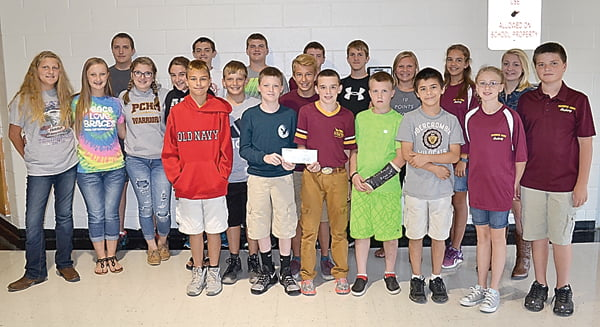 Members of the Pocahontas County Archery team collected $500 to donate to the Elkview Middle School team which lost all its equipment in the June flood. Front row, from left:Frankie Burgess,Logan Hively, Christopher Price, Braedan Hayhurst, Jesse Kelly, Makenna McKenney and Jacob Kinnison. Second row, from left:Hazel Riley, Breanna Sharp, Tessa Kiner, Macaden Taylor, Dakota Dunbrack and Conner Spencer. Third row, from left: Max Ervine, Brandon Price, Jesse Bostic, T.D. Spark, Silas Riley, Joni Barlow, Haley Spencer and Maria Workman. S. Stewart photo
