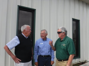 An open house was held at the Edray Industrial Park Wednesday as a step toward finding a business enterprise that might be interested in the site. Pictured, l to r: Prosecuting Attorney Eugene Simmons, GVEDC president Charlie Sheets and Chamber of Commerce board member Roger Trusler. J. Graham photo