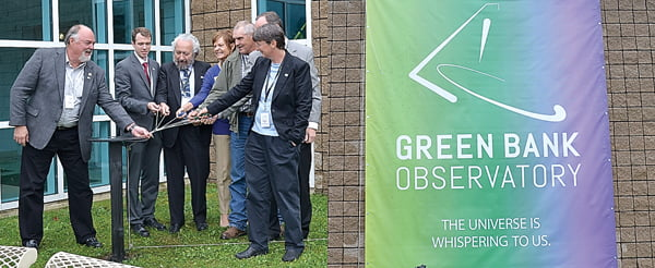 Much like the founding of the Green Bank Observatory, a group effort went into unveiling the newly renamed facility at its inauguration ceremony Saturday. From left: GBO business manager Mike Holstine; Geoffrey Hemplemann, of Representative Evan Jenkins' office; Associated Universities, Inc. President and CEO Dr. Ethan Schreier; Peggy Hawse, of US Senator Joe Manchin's office; Pocahontas County Commissioner David McLaughlin; J.T. Jezierski, of US Senator Shelley Moore Capito's office; and GBO director Karen O'Neil pull the cords to unveil the new name and logo, shown at right. S. Stewart photos