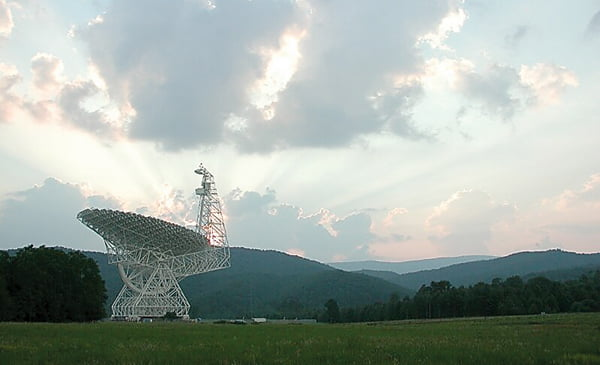 The Green Bank Telescope is the primary instrument in the Breakthrough Listen search for extraterrestrial intelligence. The project is part of Breakthrough Initiatives, founded by Yuri Milner and Stephen Hawking. Photo courtesy of Patrick Samansky, AP