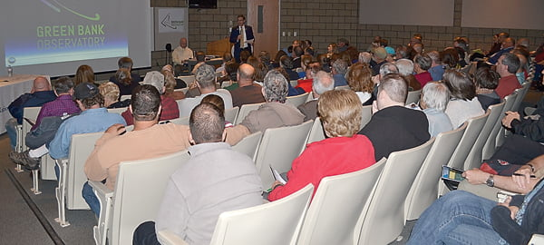 Last Wednesday afternoon and evening, hundreds of Green Bank Observatory supporters convened at the Science Center auditorium and overflow room to speak their minds at the National Science Foundation public comment meetings. The standing room only crowd applauded the speakers, which included government officials, teachers, students, scientists and astronomers. Those in attendance were from West Virginia,  Pennsylvania, Virginia, Alabama and other states, as well as students from other countries. S. Stewart photo
