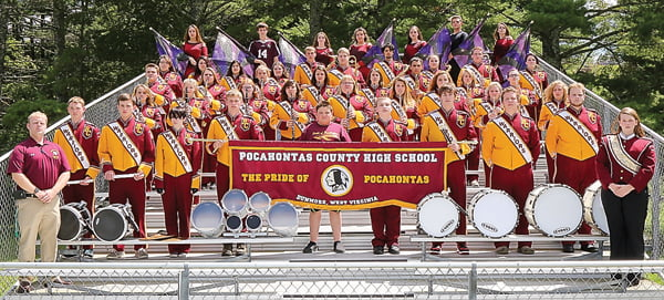 The Pride of Pocahontas Warrior Marching Band had a successful season, taking second place at three competitions and winning the title: Region 13, Division 2A Champions. The band will have a Christmas concert Sunday, December 11, at 2 p.m. at PCHS. Photo courtesy of Bob Mann