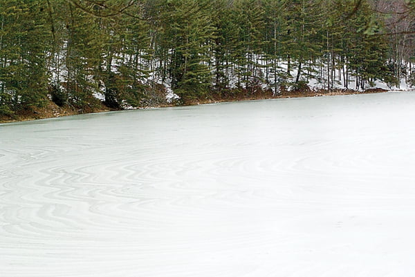 The lake at Watoga State Park freezes over in the winter, giving anglers the opportunity to prolong fishing season. With an axe or auger, visitors may cut a hole in the ice and fish for trout and catfish.