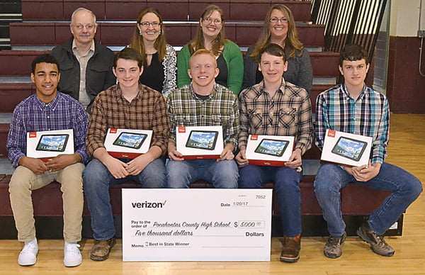 Five Pocahontas County High School students worked together to create an app for the Verizon Innovative Learning App Challenge and won first place in the state. The team will move on to the national competition. Front row, from left:Elijah Robertson, Matthias Solliday, Jacob Jones, Noah Barkley and Logan Woodruff. Back row, from left:Green Bank Observatory computer scientist Ray Creager, math and computer science teacher Laurel Dilley, math teacher Jennifer Nail and math coach Joanna Burt-Kinderman. S. Stewart photo