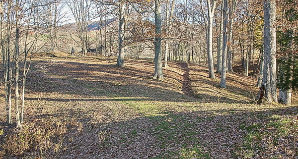 A trench line is visible at Camp Bartow near the campground of the 31st Virginia Infantry, a storied regiment with local ties. Courtesy photo
