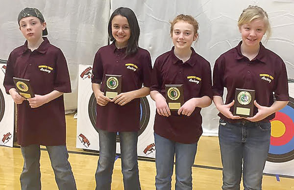 Individual winners in the elementary school category were, from left:Adam Workman, 271; Riley Pollack, 257; Hannah Burks, 251; and Jersey Simmons, 247.