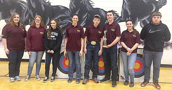 The high school team, from left: Carlie Ervine, Colleen Buzzard, Kelly Pyne, Laura Leyzorek, Ben Davis, Taylor Tegtmeyer,  Ally Lane and Ryan Brumfield  –won third place with a total score of 3,468.