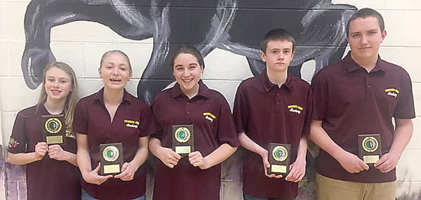 Individual winners in the middle school category were, from left:Makenna McKenney, 283; Maria Workman, 283; Macaden Taylor, 273; T.D. Sparks, 289; and Max Ervine, 283.
