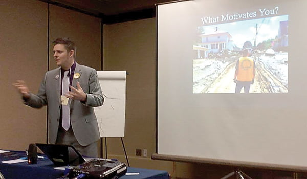 Former Pocahontas County resident Wayne Worth, who now resides in Clarksburg, gives a presentation at the annual Lions Club International Leadership Conference in Morgantown. Worth provided information to Lions on how to motivate volunteers. S. Stewart photo