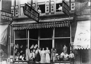 KLEIN'SDEPARTMENTSTORE was located next door to the Bank of Marlinton in the building which was occupied by Nationwide Insurance prior to the Main Street fire. The photo was taken in 1910 on what appears to have been a warm day. Photo courtesy of Preserving Pocahontas.