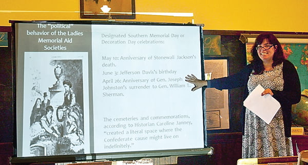 """West Virginia Wesleyan College assistant professor of history and gender studies Dr. Katharine Antolini gives a presentation, """"Mothers of Martyrs:Women and Civil War Commemoration,""""June 20 at the Huntersville School as part of the Huntersville Traditions West Virginia Day celebration. S. Stewart photo"""